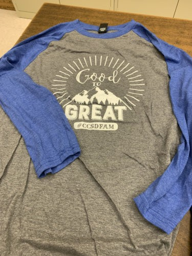 Blue and grey baseball style t-shirt with
