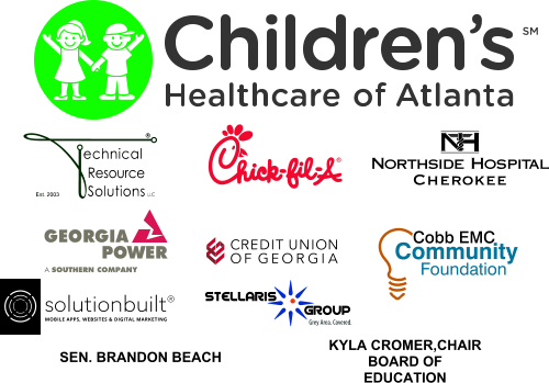 Donors including Children's Healthcare of Atlanta, Technical Resource Solutions, Chick-fil-A, Northside Hospital Cherokee, Georgia Power, Credit Union of Georgia, Cobb EMC Community, Solutionbuilt, Stellaris Group, Sen. Brandon Beach, and Kyla Cromer.