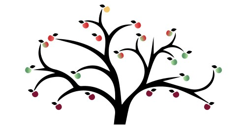 Tree graphic with purple, green, red, and yellow apples.