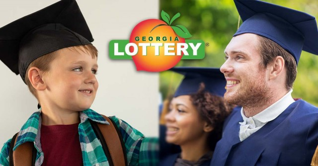 Young boy in graduation cap looking at young man in  graduation cap with Georgia Lottery logo.